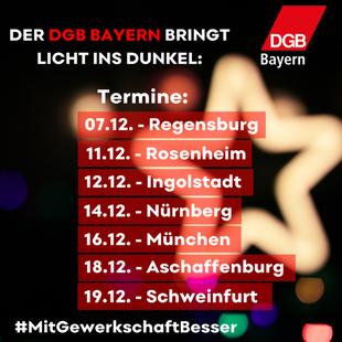 Tourplan Lichtaktion DGB