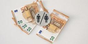 Geldscheine, Mann 150, Frau 50