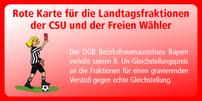 """Die """"Rote Karte"""" - der Un-Gleichstellungspreis der bayerischen DGB-Frauen"""