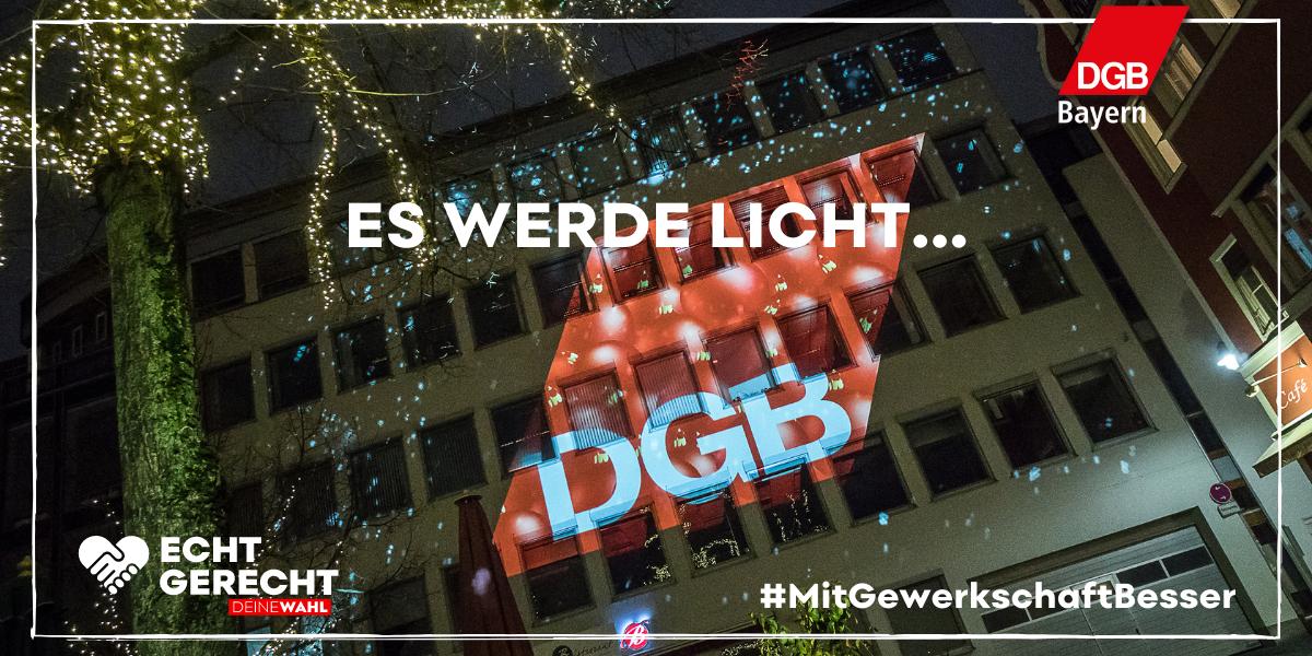 Lichtaktion des DGB Bayern zur Bundestagswahl