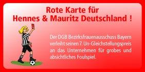 """DGB-Frauen zeigen H&M die """"Rote Karte"""""""