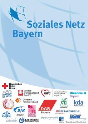 Die Logos der Mitglieder des Sozialen Netz Bayern.