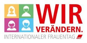 Logo DGB zum Internationalen Frauentag 2017 Piktogramm mit vier weiblichen Köpfen und dem Slogan: wir verändern