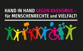 Aktion Menschenkette Hand in Hand gegen Rassismus