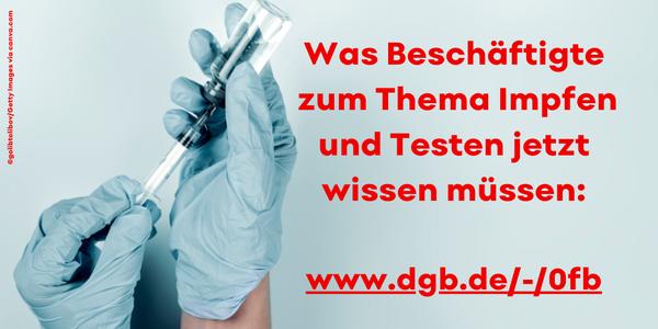 """Alles, was Beschäftigte zum Thema """"Impfen und Testen"""" wissen müssen."""
