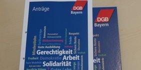 Titelseite des Antragskonferenz zur Bezirkskonferenz 2018 des DGB Bayern