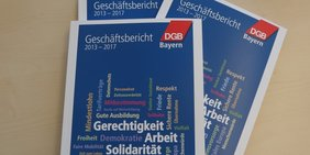 Titelseite des Geschäftsberichts 2013-2017 des DGB Bayern