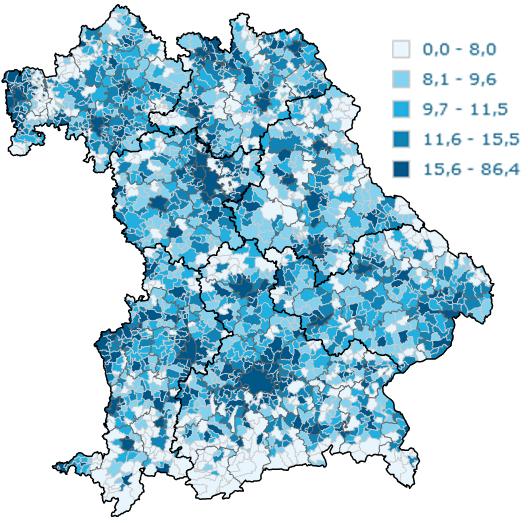 Anteil der Siedlungs- und Verkehrsfläche in Bayern in %