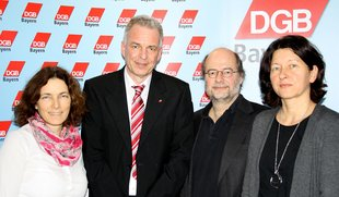 Treffen DGB Bayern mit Bündnis 90/Die Grünen Bayern: v.l. Kerstin Celina (MdL, sozialpolitische Sprecherin), Matthias Jena, Eike Hallitzky (Landesvorsitzender Grüne), Dr. Verena Di Pasquale.