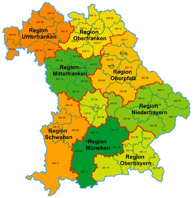 Karte Oberbayern Regionen.Dgb Bayern Geschaftsstellen In Den Regionen