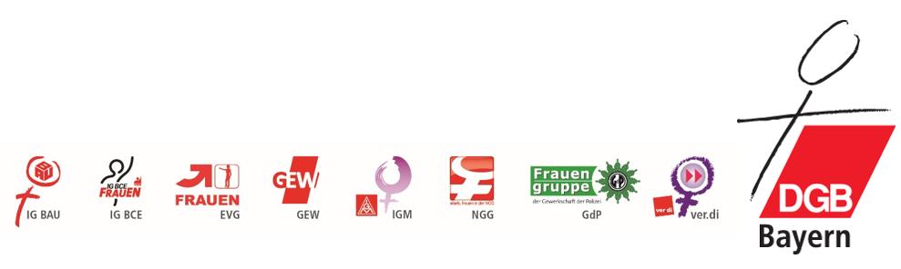 Logos der 8 Gewerkschaften sowie des DGB Bayern