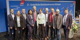 Die auf der DGB Bezirkskonferenz 2018 gewählten Regionsgeschäftsführer
