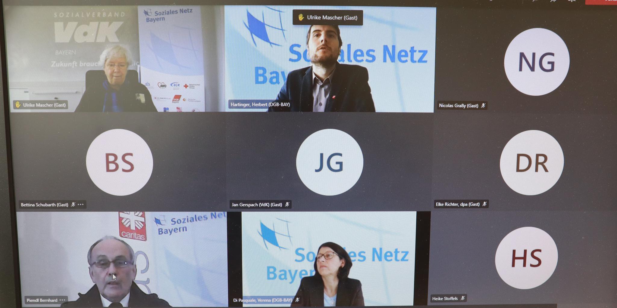 Online-Pressekonferenz des Sozialen Netz Bayern