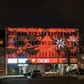Lichtaktion am Gewerkschaftshaus in Schweinfurt